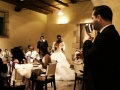 The bride and groom could not wait for the first dance so they started during dinner!